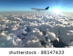 wide angle aircraft flying in the sky explain the holiday tourism.Enjoy the travel leisure time. - stock photo