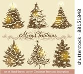 hand drawn vector christmas... | Shutterstock .eps vector #88151848