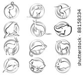 animal icons | Shutterstock .eps vector #88158334