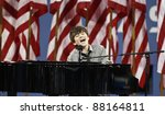 NEW YORK - AUGUST 29: Singer Greyson Chance performs during opening ceremony at USTA Billie Jean King National Tennis Center on August 29, 2011 in NYC - stock photo