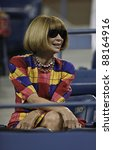 NEW YORK - AUGUST 29: Anna Wintour editor of Vogue attends 1st round match between Roger Federer of Switzerland & Santiago Giraldo of Columbia at US Open on August 29, 2011 in NYC - stock photo