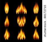 flames of different shapes on a ... | Shutterstock .eps vector #88172710