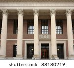 """frontal detail of the the """"Widener Library"""" at Harvard Yard in Cambridge (Massachusetts, USA)"""