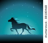 silhouette of an icelandic pony ... | Shutterstock .eps vector #88180468