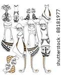 shopping girls | Shutterstock .eps vector #88181977