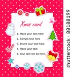 vector scrapbook christmas  card | Shutterstock .eps vector #88188199