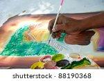 Asian painter painting art...