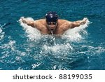 Portrait Of Young Man Swimming...