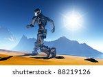 cyborg runs along the beach. | Shutterstock . vector #88219126