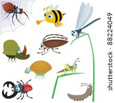 funny insect set  2 | Shutterstock .eps vector #88224049