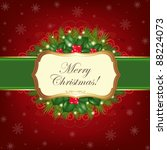 christmas greeting card  vector ... | Shutterstock .eps vector #88224073