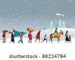 caravan of people of different... | Shutterstock . vector #88224784