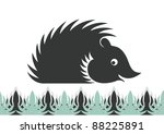 simple silhouette of a hedgehog | Shutterstock .eps vector #88225891