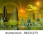 ethernia  alien town with... | Shutterstock . vector #88231273