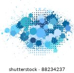 set of ink blots and halftones... | Shutterstock .eps vector #88234237