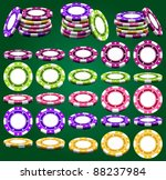 Casino chips in different foreshortening and colors in vector, isolated over green - stock vector