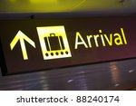 yellow arrivals  sign at a international airport - stock photo