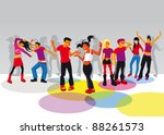 group of boys and girls dancing ... | Shutterstock .eps vector #88261573