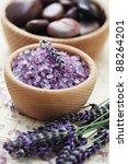bowl of lavender bath salt with ... | Shutterstock . vector #88264201