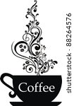 cup of coffee with floral... | Shutterstock .eps vector #88264576