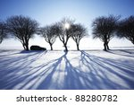 Car in winter landscape - stock photo