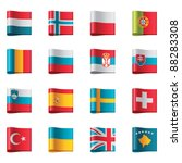 vector flags icon set. europe ... | Shutterstock .eps vector #88283308