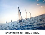 sailing ship yachts with white... | Shutterstock . vector #88284802