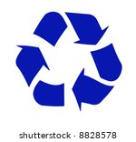 Blue Recycling Symbol Or Logo...