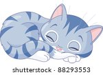 Stock vector illustration of sleeping cute kitten 88293553