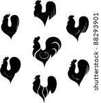 the black stylized cocks on a... | Shutterstock .eps vector #88293901