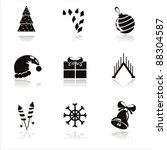 set of 9 black christmas icons   Shutterstock .eps vector #88304587