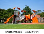 playgrounds in park and nice blue sky - stock photo