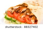 Doner kebab closeup on a white background. - stock photo