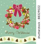 vintage christmas wreath made | Shutterstock .eps vector #88329022