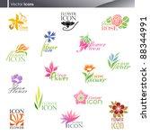 flowers. icon set. | Shutterstock .eps vector #88344991
