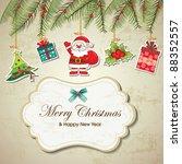 vintage christmas background | Shutterstock .eps vector #88352557