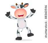 Funny Cartoon Cow In Various...