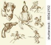 wild west set   Shutterstock .eps vector #88361932