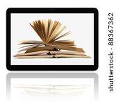 book and generic teblet... | Shutterstock . vector #88367362