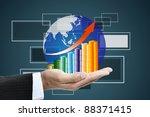 business hand holding a globe... | Shutterstock . vector #88371415