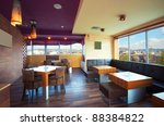 Stock photo cafe interior during day modern and simple decoration 88384822