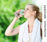 young woman drinking water... | Shutterstock . vector #88410055