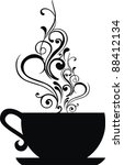cup  with floral design... | Shutterstock .eps vector #88412134