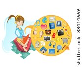 young girl with her laptop...   Shutterstock .eps vector #88414669
