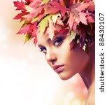 autumn woman. beautiful... | Shutterstock . vector #88430107