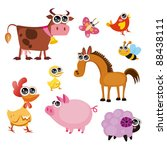fun farm animals | Shutterstock .eps vector #88438111