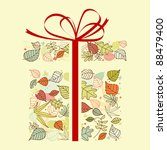 Autumnal gift with colorful leaves for seasonal design. Vector version also available in gallery - stock photo