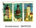 Old postage stamps from USA with Lighthouses - stock photo