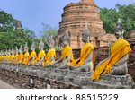 Row Of Sacred Buddha Images In...