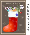 greeting card with a santa's...   Shutterstock . vector #88515253